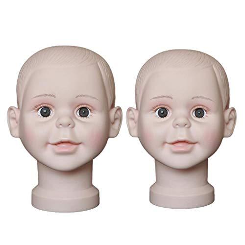 Generic 2pièces Chauve Tête de Mannequin Enfants Modèle Support Porte Perruques Affichage Chapeaux Casquettes