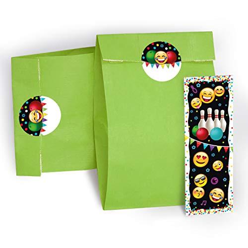 JuNa-Experten 12 Lesezeichen + 12 Aufkleber + 12 Geschenktüten / grün Mitgebsel Bowling Kindergeburtstag Mädchen Jungen Gastgeschenke