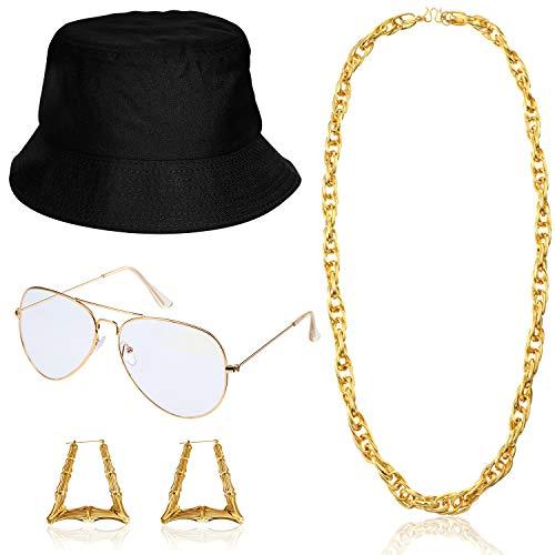 Kit de Disfraz de Mujer Hip Hop Gafas de Sol con Sombrero de Cubo Cadena de Oro Accesorios de Rapero de Años 80/90