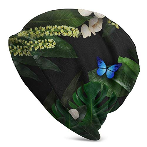 QUEMIN Baratos Mariposas Flores Hojas Un Planeta extraño Gorro de Calavera Gorro elástico Gorras holgadas Sombreros de Moda de Punto de Invierno para Mujeres Hombres