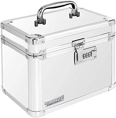 Vaultz Combination Lock Box - 7.25 x 10 x 7.75 Inch Safe Boxes for Money, Documents & Medicine - White
