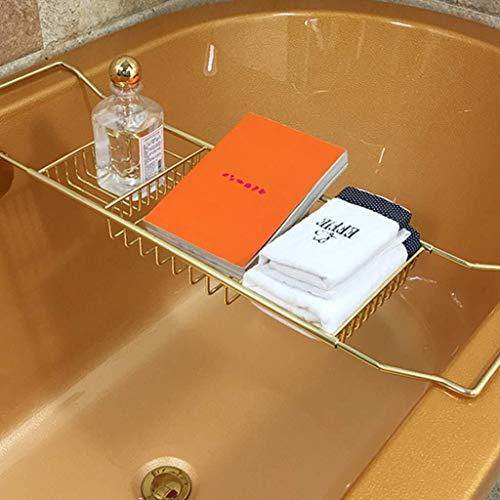 ZHF-Bathroom shelf Bath Caddy Tray- Extendable Bathtub Rack -Organiser Table Gold Integrated Wine Glass Holder Book Phone Tablet Holder Caddies Accessories Placement