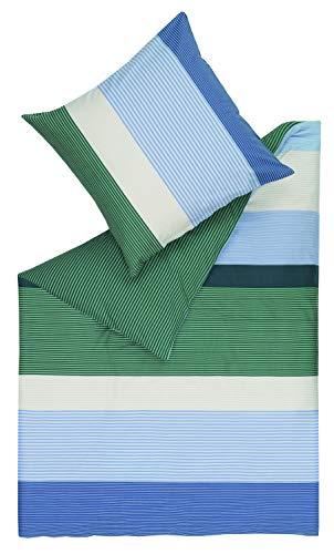 ESPRIT Floyed 2teilige Bettwäsche 155x220 cm Baumwolle • waschbarer Bettbezug grün • Kissenbezug 80x80 cm • 100% Baumwolle