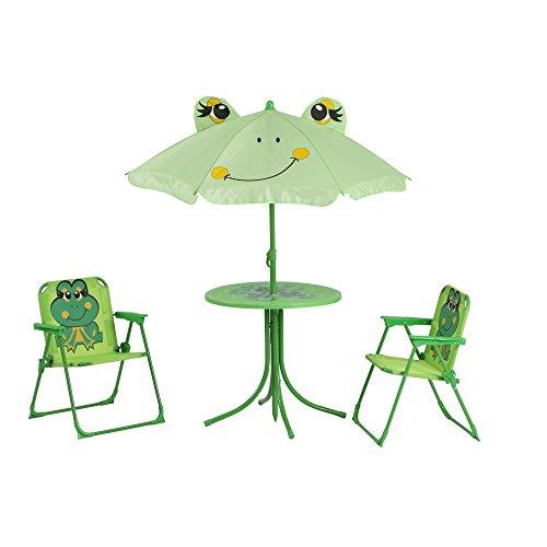 Siena Garden 672614 Froggy Set pour Enfants 2 Fauteuils Pliants + 1 Table + 1 Parasol Motif de Grenouille Acier Vert
