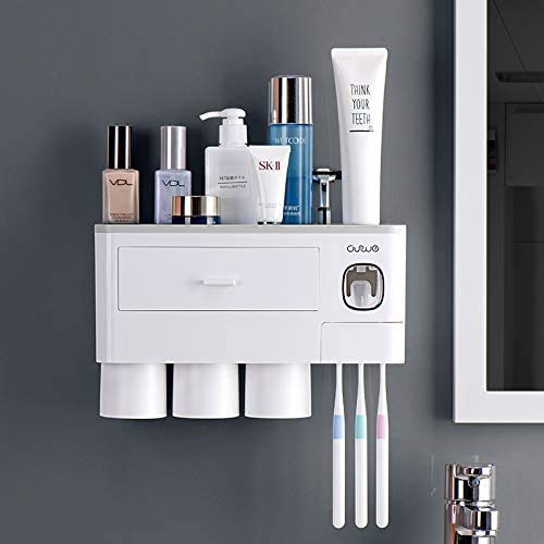 TuCao Automatic Toothpaste Dispenser Squeezer Kit with Toothbrush Holder Wall Mounted, 6 Toothbrush Slot with Cover, 3 Magnetic Cups and Cosmetic Organizer Drawer(3 Cups)
