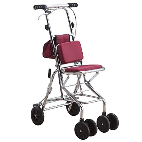BSJZ Selbstfahrender Einkaufswagen Älterer Roller, zusammenklappbarer Einkaufsgurtsitz Vierrädriges, kleines Handauto, 120 kg Last