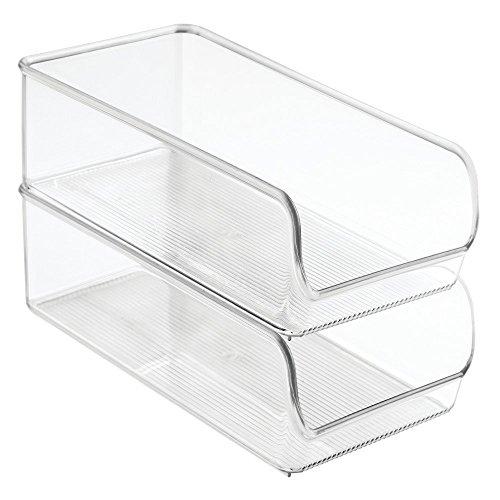 iDesign Linus Aufbewahrungsbehälter, mittelgroßer Küchen Organizer aus bruchsicherem Kunststoff, 2er-Set Boxen, durchsichtig