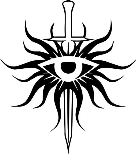DRAGON AGE VIDEO GAME 5.5'INQUISITION EYE Logo FOR CAFE Decal Sticker for Laptop Car Window Tablet Skateboard - BLACK Color