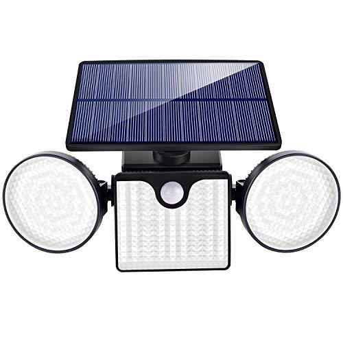 DONLINE Upgrade Solar Motion Sensor Outdoor Lights 3 Heads Security Lights Solar Powered 260 LED Flood Lights Outdoor Spotlights 360° Rotatable IP65 Waterproof for Front Door Yard Garage Deck-1 Pcs