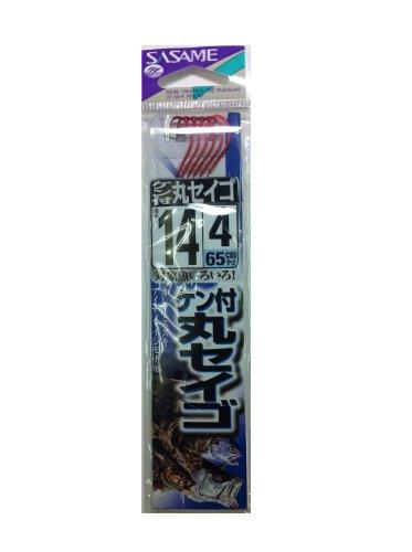 ささめ針(SASAME) AA204 ケン付丸セイゴ(赤)糸付 14 4