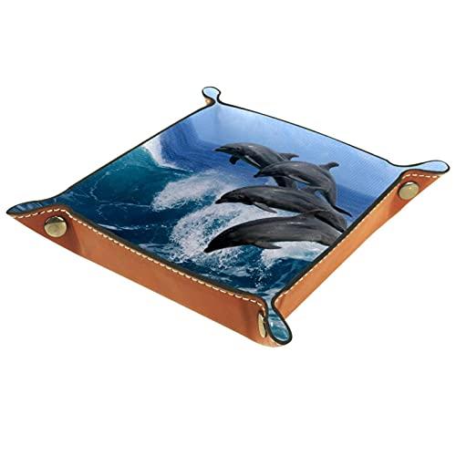 Bandeja de dados, plegable de cuero para dados, para juegos de dados, D&D y otros juegos de mesa, Ocean Sea Dolphin