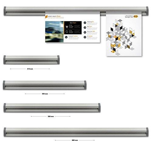 Office Marshal® Posterschiene Slide | Klemmleiste für Poster zum Aufhängen ohne Strips oder Magnete | verschiedene Größen (Schiene 58 cm Innenmaß)