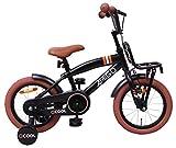 Amigo 2Cool - Bicicleta Infantil de 14 Pulgadas - para niños de 3 a 4 años - con V-Brake, Freno de Retroceso, Timbre, portaequipajes Delantero y ruedines - Negro Mate