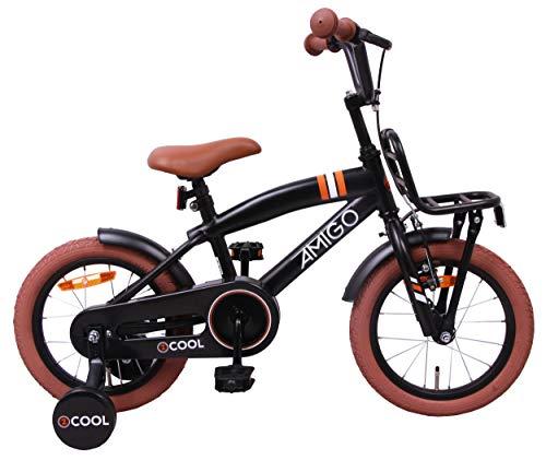 Amigo 2Cool - Vélo Enfant pour garçons - 14 Pouces - avec Frein à Main, Frein à rétropédalage, Porte-Bagages Avant et stabilisateurs vélo - à partir de 3-4 Ans - Noir