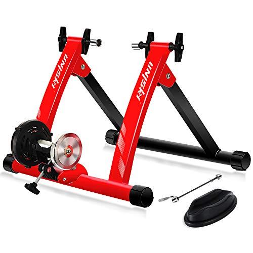 unisky Rodillo Bicicleta Magnético de Ciclismo Rodillo Entrenamiento Bicicleta para Ruedas de 26 -28  o 700C, Plegable y Silencioso Bike Trainer para Ejercicios Ciclismo en Casa, Rojo