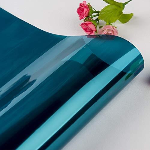 40/50/60/70/80 * 200/500 cm One Way Mirror Película de ventana Auto adhesivo Pegatinas de vidrio UV Reflectante Transferencia de calor Vinilo Película solar ( Color : Blue Silver , Size : 50x500cm )