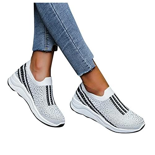 Flu Zapatillas Mujer Casual Deportivas Caminar para Mujer Slip on Calzado,Zapatos de Running,Sneakers Ligeras,Zapatillas de Verano Transpirables de Malla con Tacón de Cuña, Adorno de Lunares.