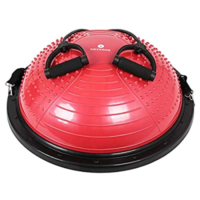 DEVEBOR Pro Massage Balance Ball Half Ball Balance Trainer with Resistance Bands & Pump Grind Arenaceous and Slip Resistant Yoga Fitness Home Exercise Training Ball (Red)