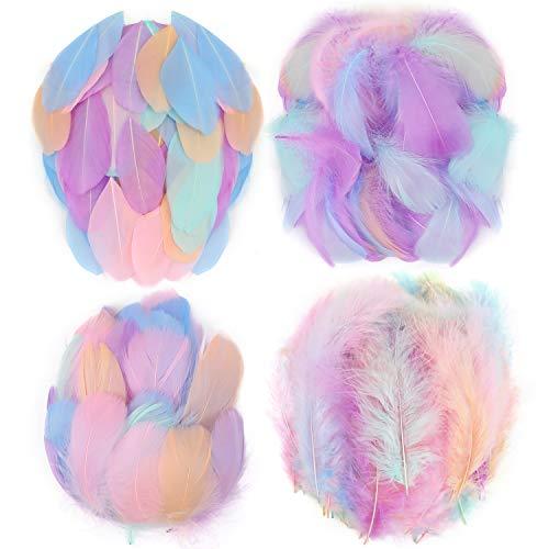 Mwoot 400 pcs Plumas de Colores, de artesanía Natural Plumas de Ganso para Disfraces, Bolsos, aretes, atrapasueños de Bricolaje, Festival de Bodas, Decoraciones para Fiestas en el hogar, 5-15 cm