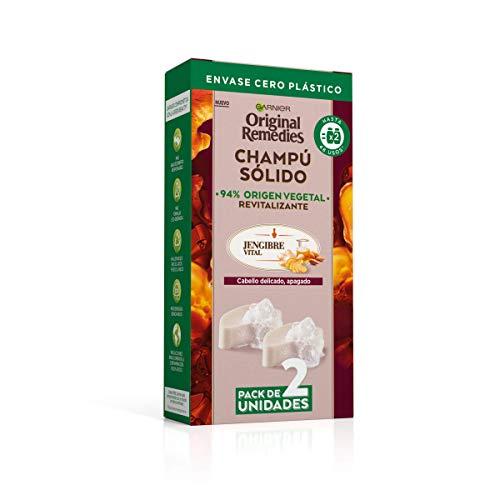 Garnier Original Remedies, Champú Sólido, Jengibre Vital para Cabello Debilitado y Apagado, Jengibre y Aceite de Almendra Ecológico, Nutre y Revitaliza, 94% Origen Vegetal, 48 Usos, Pack de 2, 60 g