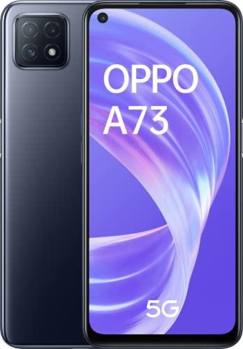 """OPPO A73 5G – Pantalla de 6.5"""" (AMOLED, 8GB +128GB, MT6853V, 4040mAh, carga rápida 18W, Triple Cámara con IA, Dual Sim Android 10) Negro [Versión ES/PT]"""