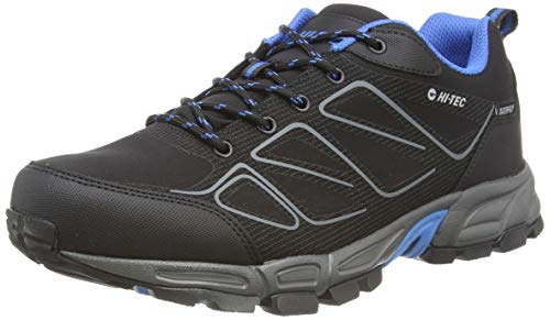 Hi-Tec Ripper Low WP, Zapatillas de Senderismo Hombre, Negro Negro Lago Azul 21, 43 EU