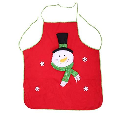 hong Wu Red Christmas Schürze Schneemann-Muster-küchen-schürze Mit Pocket- Weihnachtsgeschenkidee Für Spaß-festlichen Abendkleid