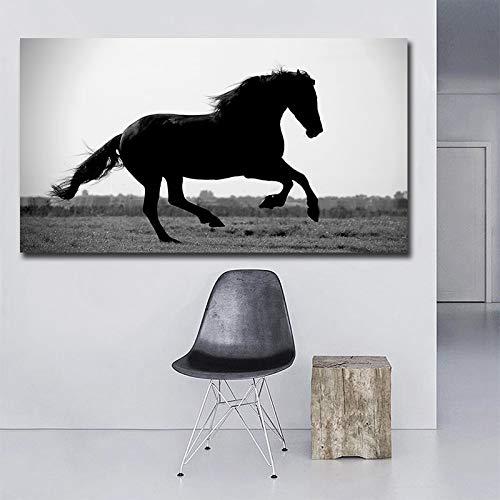 HGlSG Running Horse Zwart-wit foto's Art Gedrukt Custom Giclee Foto Prints Canvas Poster Prints voor Muur Foto voor Living A3 60x90cm