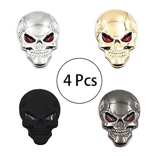 HPiano Pegatina Calavera 3D 4 Piezas (Negro, Plateado, Negro Mate, Dorado) Placa de Metal Etiqueta, Punk Insignia de Esqueleto de Calavera 3D Etiqueta Auto/Motocicleta de Metal