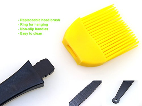 MAYFOO Set of 3 High Temperature Resistant Silicone Basting Brush BBQ Grill Brush,Food Grade for Grilling, Marinating Desserts Baking -13.97 in /8.46 in/7.08 Inch Long