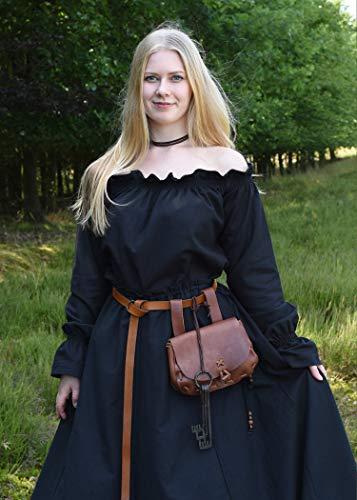 Mittelalterlicher Rock, weit ausgestellt, schwarz aus schwerer Baumwolle – Mittelalter, LARP, Wikinger Größe XXL - 3