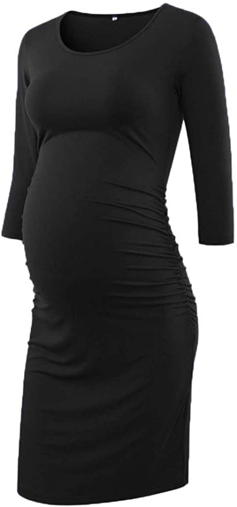 Liu & Qu Women's Maternity Bodycon Ruched Side Dress Casual Short & 3/4 Sleeve Dress for Daily Wearing Or Baby Shower