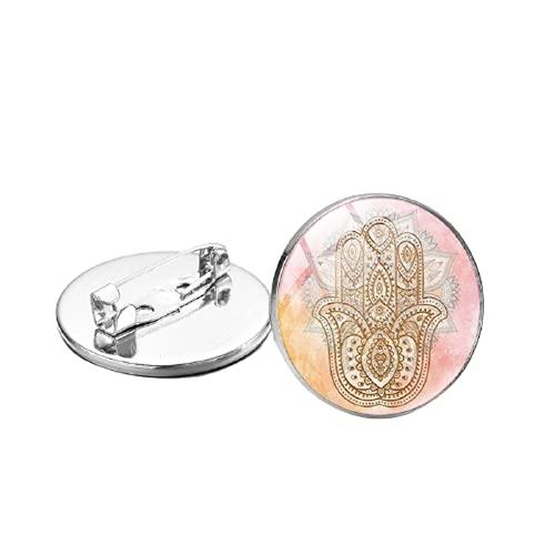 Broche de mano turca de Fátima Hamsa pintado a mano de cristal Cabujón Pines de Solapa Insignias Festival Regalo Lucky Talisman