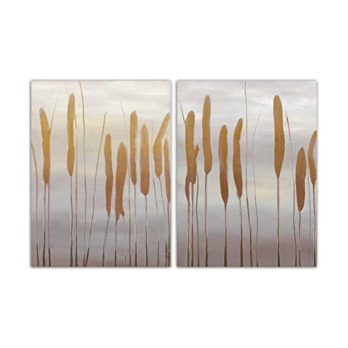 nr Minimalistisch schilderij print abstracte rieten landschap wandschilderijen Scandinavische stijl canvas kunst hondenstaart poster woonkamer wooncultuur 50 x 70 cm geen lijst