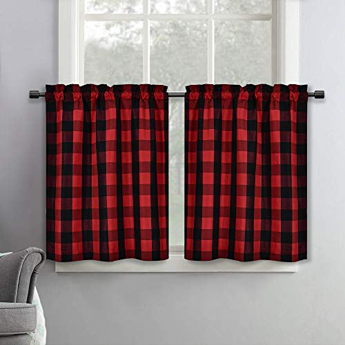 SeeGlee Red and Black Plaid Thermal Insulated Energy Saving Curtain Tiers for Loft -Rustic Farmhouse Living Buffalo Check Cottage Short Curtain Valances(29 W x 36 Inches Long,2 Panels)