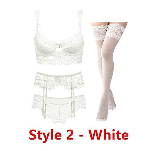 Sexy Spitze dünne Baumwolle Tasse Brust BH-Set (BH + Slip + Strumpfgürtel + Strumpf) 4 Stück/Lose Dessous-Set - Cremeweiß, 90C,