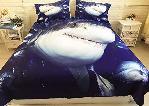 LULU Duvet Cover Set Shark Series Pattern School Of Fish Shark 3d Printing Three-piece 1 * Duvet Cover 2 * Pillowcase (Color : B, Size : Single(135 * 200cm))