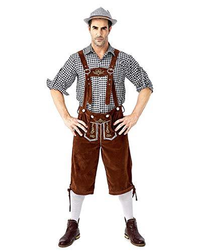 HONGBI Disfraz de bávaro alemán Lederhosen Cerveza Oktoberfest,Negro Shirts + Marrón Dungarees,M