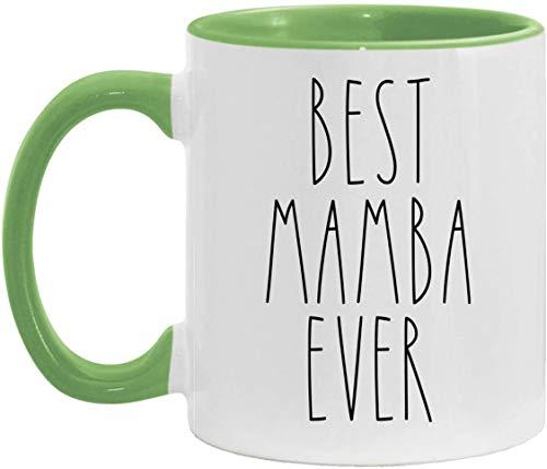 La mejor taza con acento de Mamba Ever taza personalizada con acento familiar, día de la madre/día del padre, granja, taza con acento de mamba, verde, 11 oz
