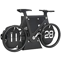 MIDCLOCK Bicycle Flip Clock, Retro Desk Clock, Flip Number Clock for Home Decor, Cool Unique Auto Flip Down Clock, Battery Powered (Classic Black)