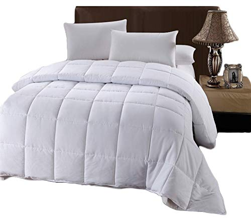 Royal Tradition Down Alternative Comforter (King-Calking, 106x90) 60-Ounces of Fill, Solid Baffle Box Pattern, Soft and Fluffy Hotel Style Duvet Insert with Corner Ties, White