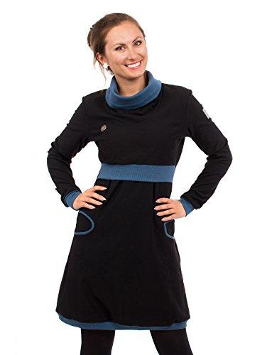 Viva la Mama Umstandsmode Umstandskleid Winter Langarm Stillkleid Baumwolle elegant Mutter Stillmode Neele schwarz blau - M