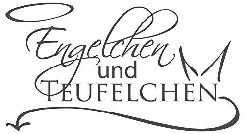 dekodino® Wandtattoo Spruch Schlafzimmer Engelchen und Teufelchen Dekoration