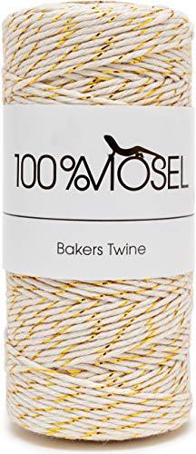 Baker's Twine Natur Metallic - Cordel de Algodón de 1 mm Grosor, Dorado Metálico,...