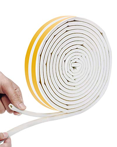 Vidence Weather Strip Tape, Doors Windows Draught Excluder Anti-Collision Self-Adhesive Rubber D Type EPDM Foam Soundproofing Draft Stopper [2 Pack], Yellow/White,4 Seals Total 12M