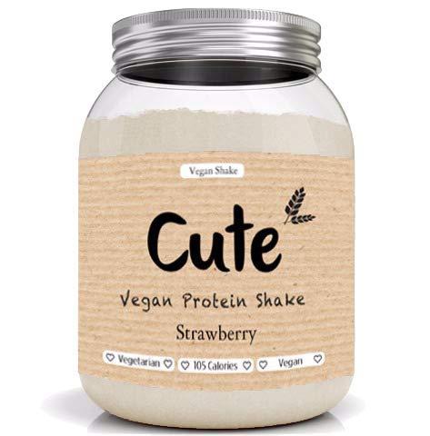 Cute Nutrition Shake Proteico Vegano Alla Fragola Senza Glutine Supporta la Perdita di Peso E Recupero Post Esercizio Non OGM Barattolo da 600g