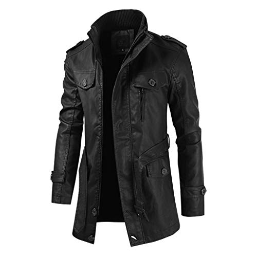 SPE969 Men's Cool Stand Collar Vintage Jacket, Leather Long Sleeve Autumn Winter Stand Collar Club Coat Black