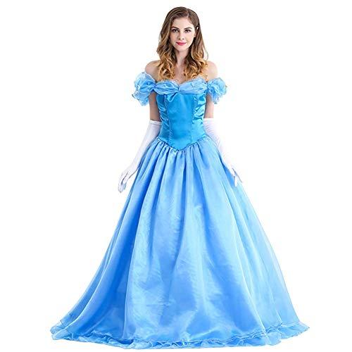 OwlFay Cenicienta Disfraz Mujer Cinderella Carnaval Traje de Princesa Fiesta para Halloween Navidad Ceremonia Cosplay Costume con Guantes M