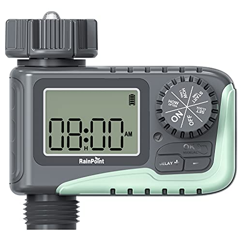 RAINPOINT Sprinkler Timer, Programmable Garden Hose Timer for Outdoor Faucet, Digital Water Timer with Rain Delay/Manual/Automatic Watering System, Waterproof Irrigation Timer for Patio Lawn,1 Outlet