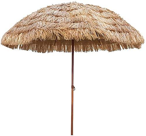 BOYISI Paraguas del Sol de la Playa 74 pies, Paraguas de jardín inclinable, Simulación Paraguas Paja Redonda Umbrella Parasol para Playa Cafetería Pesca Camping